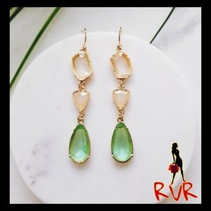 FLUORITE GEM BOHEMIAN DANGLE EARRINGS